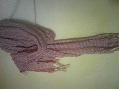 キラキラ糸編み込みが綺麗なロングストール/シワ加工/ピンク系/