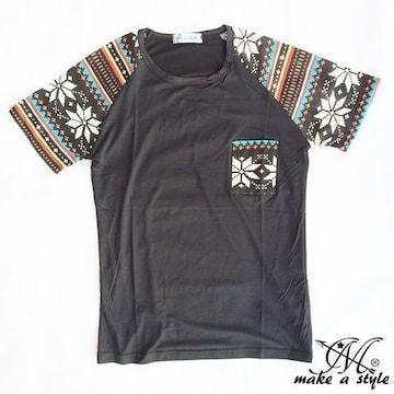 幾何学 エスニック ラグラン Tシャツ TEE 半袖 ブラック 48M