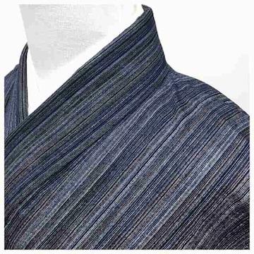 美品 単衣仕立て 粋 縞 紬 身丈150 裄62 (紺)