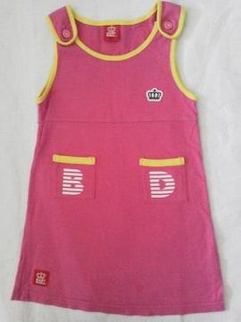 #ベビードール#前ポケボーダーワンピース 110 バクプリ ピンク