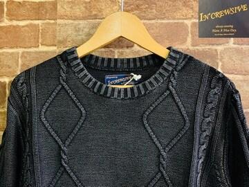 表記XL/新品!ストーンウォッシュ加工 ケーブル編み ニット セーター 黒 サーフ グランジ