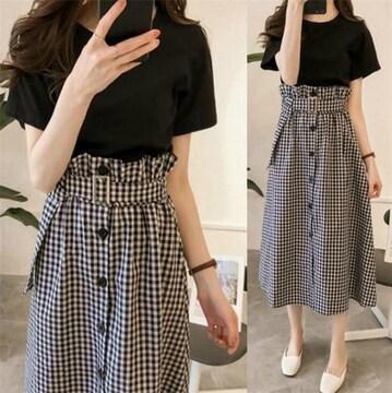 セットアップ  ロングスカート + 半袖 Tシャツ (2XL寸・格子)