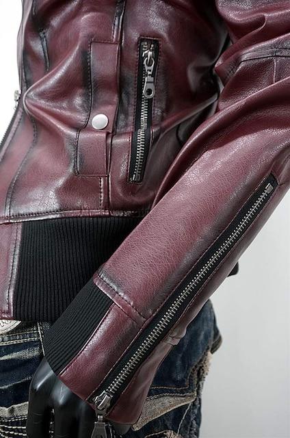 ヴィンテージレザ-シングルライダースジャケット★ワイン★LL < 男性ファッションの