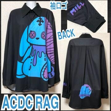 【新品/ACDC RAG】バニードールズプリントBIGシャツ/ミル