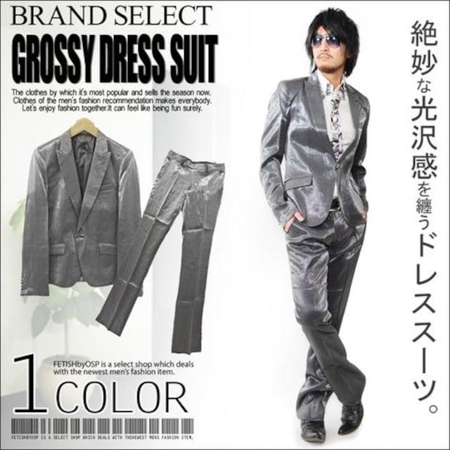 ピークドラベルシャンブレースーツ☆シルバーブラックM  < 男性ファッションの