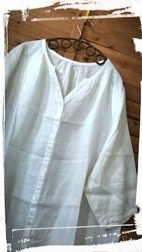 *無印*リネン100% 7ブソデpo&羽織 未使用 白