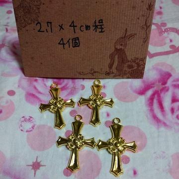合金クロスチャーム4個十字架チャーム