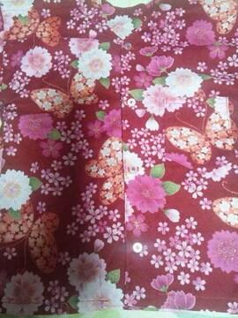 ☆処分品赤×桜蝶々ラメ入柄ダボシャツ90