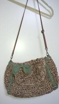 新品未使用☆麻ひも編みショルダーリボンと内側の花柄が可愛い