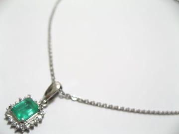 天然エメラルド056キャラ.ダイヤ019.プラチナ900のペンダントトップ永遠の本物宝飾