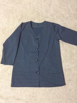 582.ノーカラージャケット☆ギザギザ柄☆羽織☆L程度