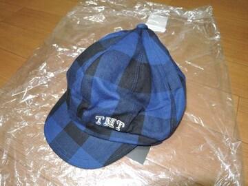 新品TMTバッファローチェック柄ハンチング青黒キャスケット