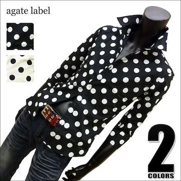 水玉ドット柄7分袖ドレスシャツ 日本製 ブラック LL 114024