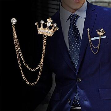 王冠ブローチ ブローチ ラペルピン 立体的 2連 ゴールド