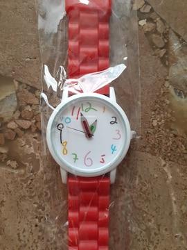 新品未使用・腕時計・鉛筆針・赤