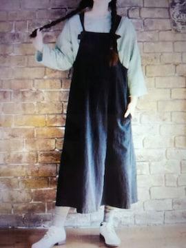 **ohana*コットンリネン サロペットスカート 新品ブラック