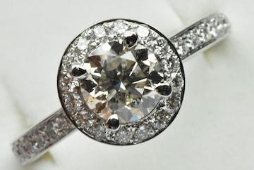 【鑑別】Pt900 中石 1.166ct ダイヤモンドリング 12号 指輪
