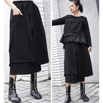 ロングスカート 重ね着風 厚手生地 ブラック 大きいサイズ