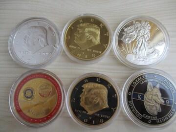トランプ大統領関係カラー金貨銀貨メダル他計6種6枚