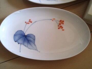 送料込 香蘭社 新品 楕円形プレート皿