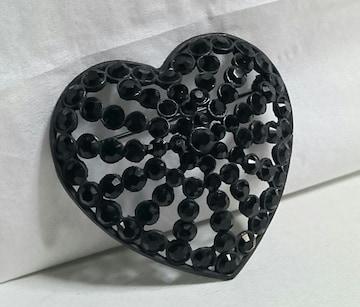 正規美レア NUMBER NINEナンバーナイン ブラックライトストーン装飾立体ハートブローチ黒