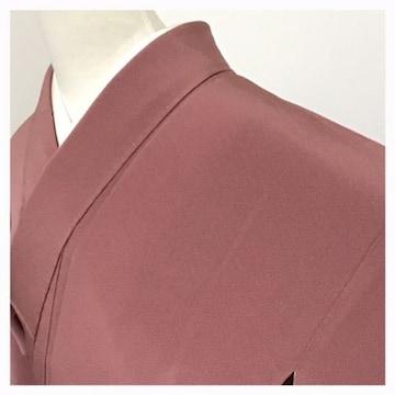 美品 色無地【極上 逸品】正絹 袷 無地柄 紋入り(ピンク紫)