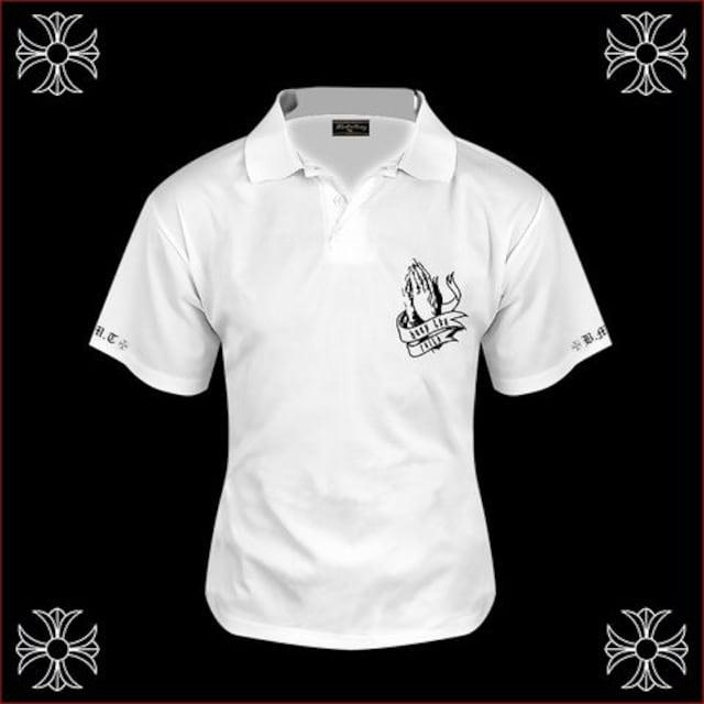 送料無料ヤンキーチンピラオラオラ系マリア柄半袖ポロシャツ/ホストお兄系服15008白-XL < 男性ファッションの