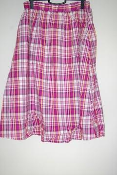 ☆大きいサイズチェック柄フレアスカート色ローズ☆