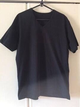 無印良品 Vネック Tシャツ 汗染み防止 ブラック