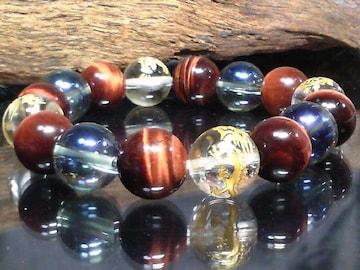 四神獣水晶青水晶レッドタイガーアイ12ミリ数珠