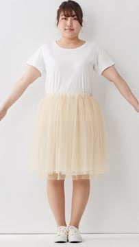 10Lサイズ 膝丈チュールスカート ベージュ