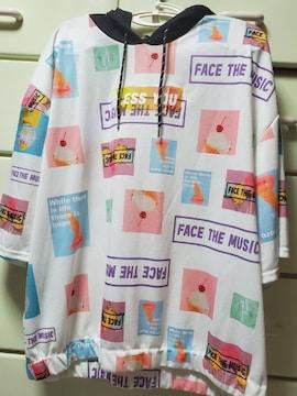 大きいサイズ☆4L☆フード付きシャツ☆パーカー☆白☆