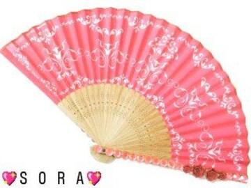 幻想艶【ゴージャス】夏祭りに♪薔薇.高級ストーンデコ扇子