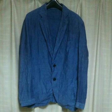 テットオムTETE HOMME麻デニム風2Bテーラードジャケットサイズ5青ブルーメンズきれいめ