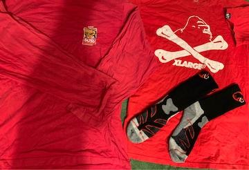 送料無料  半袖XLARGEのTシャツ+非賣品BOSS7分?+靴下25cm