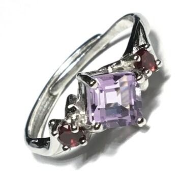《No.R010》宝石質 天然石ピンクアメジスト×ガーネット ring