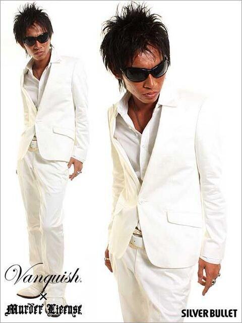 Vanquish(ヴァンキッシュ)コットンホワイト1Bフレアスーツ/L ホスト  < ブランドの
