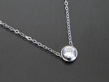 18金ホワイトゴールドフィルド シンプル ダイヤ ネックレス