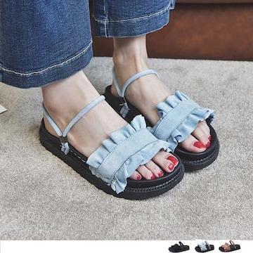 フリルサンダル ペタンコサンダル フラットシューズ 靴 レディース ビーチサンダル 歩きやすい