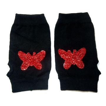 ラインストーン 蝶々 ワッペン ハンドカバー グローブ 指なし 指なし 手袋