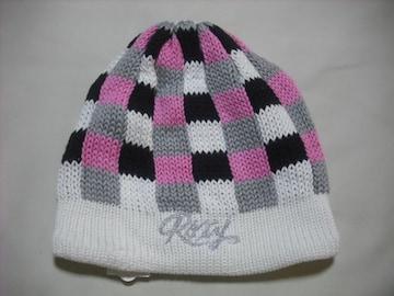 wb116 ROXY ロキシー チェック柄 ニット帽