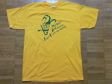 即決USA古着●鮮やかロゴデザインTシャツ黄!アメカジヴィンテージ