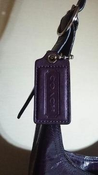 鑑定済 COACH 紫 パープル ショルダーバック コーチ