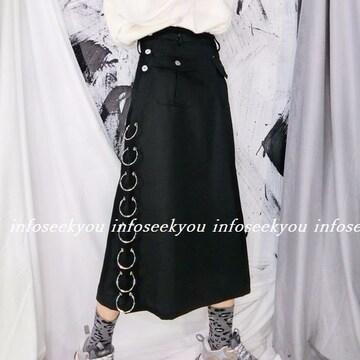 LL大きいサイズ/リング付きスカート/黒