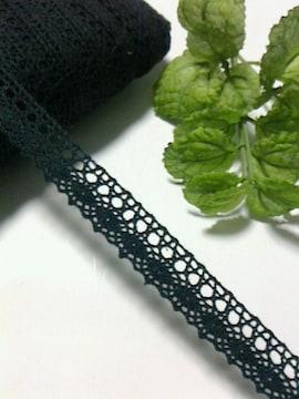 〈トーションレース〉綿100%(ブラック/長さ7m)ポーチ・小物