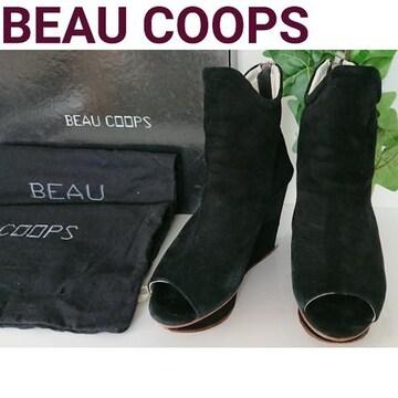 BEAU COOPS 厚底 パンプス ブーツ オープントゥ ブーティ 黒