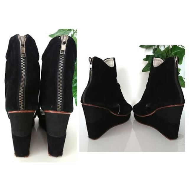 BEAU COOPS 厚底 パンプス ブーツ オープントゥ ブーティ 黒 < ブランドの