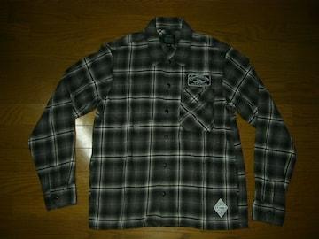 クライミーCRIMIEチェックシャツM灰黒ワッペン付きワーク長袖