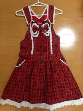 BABYTHESTARSSHINEBRIGHT☆タータンチェックサロペット☆赤靴下