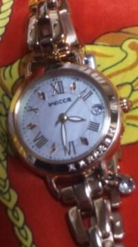 シチズン電波ソーラー腕時計レディースWiccaローズゴールド定42900円